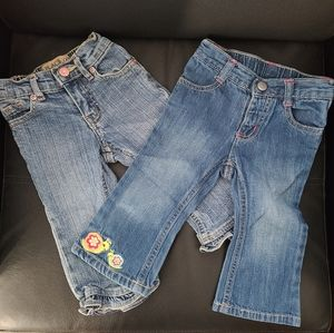 EUC 2 Pairs of Flared Jeans Size 12-18 Months